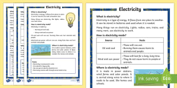 Electricity Differentiated Fact File - Light, dark, sources, science, ks1, year 1, year 2, lights, shadows, fact file, electricity, informa