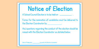 School Council Election Notice of Election Poster - school council, election, notice, poster