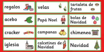 Tarjetas de vocabulario: La Navidad - vocabulario, navidades, reyes, regalos, escribir, carta