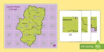 Tapiz de Bee-Bot: Las provincias de Aragón - Mapas, provinicias, mapas mudos, mapas en blanco, las ciudades de españa, comarcas, concejos, comun