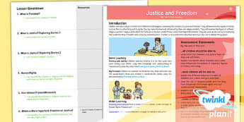 PlanIt - RE Year 6 - Justice and Freedom Planning Overview