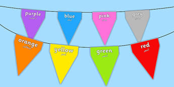 Colours on Bunting Arabic Translation - arabic, colours, bunting, display