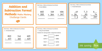 Year 5 Addition and Subtraction Formal Methods Maths Mastery Challenge Cards - Year 5 Maths Mastery Activities, addition, subtraction, checking answers, multistep problems, formal