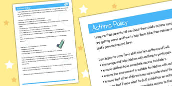 Childminder Asthma Policy - sheet, policy, child minder, asthma