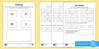 Year 2 Maths, Bar Models, Inverse Operations and Commutativity Homework Differentiated Go Respond Activity Sheets - addition, subtraction, related number facts, inverse, calculation, interactive