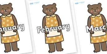 Months of the Year on Mummy Bear - Months of the Year, Months poster, Months display, display, poster, frieze, Months, month, January, February, March, April, May, June, July, August, September