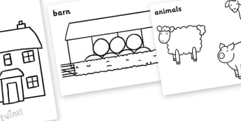 On the Farm Colouring Sheets -  Farm, on the farm, colouring, fine motor skills, poster, worksheet, lambs, daffodils, flowers, tractor, farmer, pigs, sheep