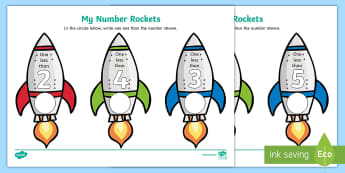 My Number Rockets One Less Activity Sheet - My Number Rockets One Less Activity Sheet - numbers, rockets, space, counting, numbes, spce, countng