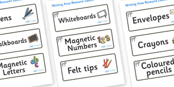 Zebra Themed Editable Writing Area Resource Labels - Themed writing resource labels, literacy area labels, writing area resources, Label template, Resource Label, Name Labels, Editable Labels, Drawer Labels, KS1 Labels, Foundation Labels, Foundation