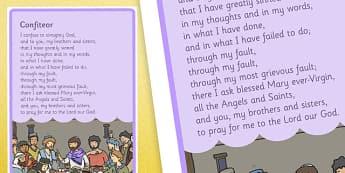 Confiteor Sacrament of Penance Prayer Display Poster - Penance, Confession, prayers, posters,religion, ireland, republic, roi, irish, confess