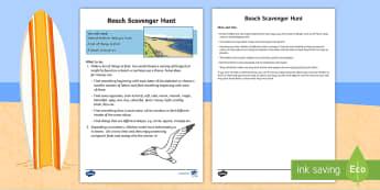 Beach Scavenger Hunt Activity Sheet - Worksheet, seaside, treasure, holidays, family, summer