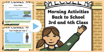 Back to School Morning Activities 3rd and 4th Class Week 1 PowerPoint