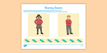 Sharing Sweets Activity Sheet - CfE, numeracy, sharing out, share, sharing, sweets, activity, scottish, curriculum, early, maths, assess, assessment, fractions, excellence, scotland, worksheet