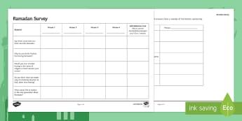 Ramadan Homework Task Activity Sheet - Secondary - RE - Islam KS3, research, homework, survey, questionnaire, enquiry, Ramadan, prior knowl
