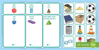 3D Shape Welsh Sorting Cards - English / Welsh - Saesneg / Cymraeg-Welsh - Bilingual Welsh and English Displays, Incidental Welsh, displays, 3D shape, 3D, 3d shape, Siapiau 3D