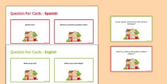General Conversation Home Town Neighbourhood & Region Question Pair Cards Spanish