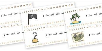 Combined Alphabet and Number Strips (Pirates) - Pirates, pirate, Alphabet, Numbers, Writing aid, Flag, pirate bunting, treasure, ship, jolly roger, ship, island, ocean
