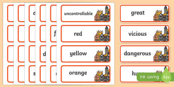 Fire Adjectives Word Cards