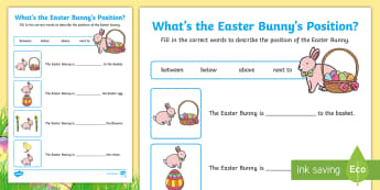 Foundation Easter Position Activity Sheet - Australia Easter Maths, easter, australia, mathematics, measurement and geometry, location and trans