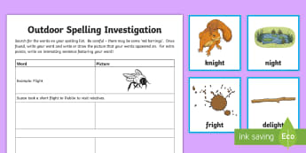 Spelling 'igh' Outdoor Activity Pack - CfE Outdoor Learning, nature, forest, woodland, playground, spelling, grammar, sentence.,Scottish