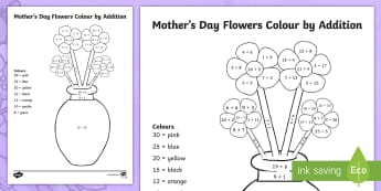 Mother's Day Flowers Addition Colouring Page-Australia - Mother's Day Maths, maths, mother, mother's day, mum, addition, adding, number, Year 1, Year 2, co