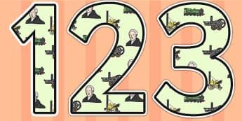 George Stephenson Themed Display Numbers - george stephenson, display numbers, themed number, classroom number, numbers for display, numbers for display