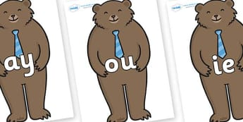 Phase 5 Phonemes on Daddy Bear - Phonemes, phoneme, Phase 5, Phase five, Foundation, Literacy, Letters and Sounds, DfES, display