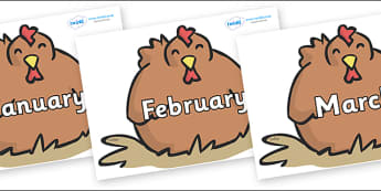Months of the Year on Chickens - Months of the Year, Months poster, Months display, display, poster, frieze, Months, month, January, February, March, April, May, June, July, August, September