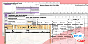 PlanIt - History LKS2 - The Romans Unit Assessment Pack - assessment, record, data, baseline, nation, pack, objectives, criteria, success, national, curriculum, past, people culture,