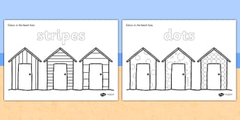 Colour Spots and Stripes Beach Huts - colour, patterns, huts