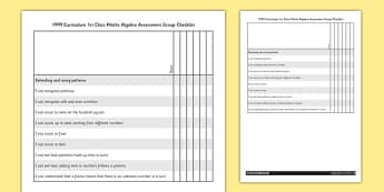 1999 Curriculum 1st Class Maths Algebra Assessment Targets Group Checklist - roi, irish, republic of ireland