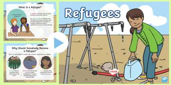 KS1 Refugee Activity PowerPoint - Refugee, Refugees, Refugee Week, Somalia, Africa, Afghanistan, World War Two, Flee, Fled, Unsafe, Wa