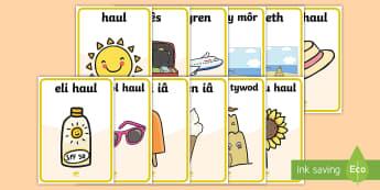 Posteri Arddangosfa Yr Haf - Yr Haf, summer, colouring sheets, rhifau, traeth, beach, display lettering, posteri, ysgrifennu, sum