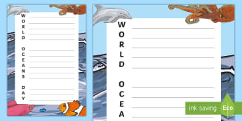 World Oceans Day Acrostic Poem - CfE World Oceans Day (8th June), Oceans Day, Global Days, united nations, UN, world days, world ocea