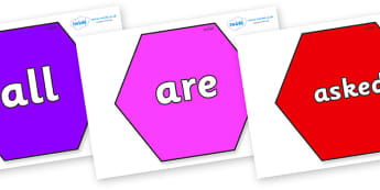Tricky Words on Hexagons - Tricky words, DfES Letters and Sounds, Letters and sounds, display, words