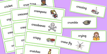 Two Syllable CR Word Cards - two syllable, cr, word cards, word, cards, sound, cr sound