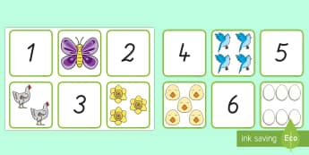 Frühling: Zahlen und Bilder 1 bis 10 Memory Karten - Mathematik: Zahlen, German