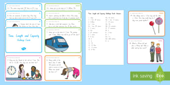 Time, Length and Capacity Problem Solving Challenge Cards - New Zealand, maths, measurement, time, length, capacity, Years 1-3, number problems, maths problems,