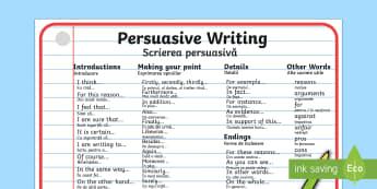 Persuasive Writing Word Mat English/Romanian - Persuasive Writing Word Mat - writing, write, word mat, keywords, persasive writing, persausive, per