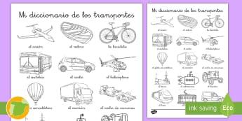 Hoja de colorear de vocabulario: El transporte - transporte, coche, camión, avión, globo aerostático, autobús, moto, motocicleta, vía, carretera