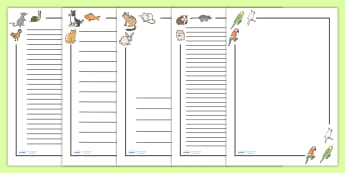 Pets Page Borders - Pets, pet, Page border, border,  KS1, writing Borders, cat, dog, rabbit, mouse, guinea pig, rat, hamster, gerbil, horse, puppy, kitten, snake, chinchilla, snail, lizard, budgie