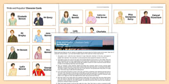 Pride and Prejudice Character Cards Pack - English Literature, GCSE, AQA, EDUQAS, OCR, EDEXCEL, Mr Darcy, Elizabeth Bennet, Jane Austen, Display