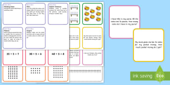 Multiply and Divide x5 Card Game - x5, time 5, counting in 5s, x5 word problems, x5 problem solving,Australia