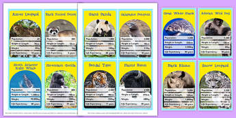 Endangered Animals Top Card Game - endangered, animals, top card, top trump, card, game