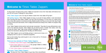 Times Tables Zappers User Guide