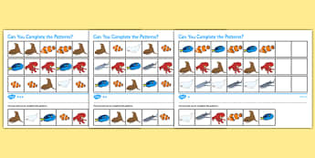 Under the Sea Adventure Complete the Pattern Differentiated Activity Sheet Pack - finding dory, finding nemo, under the sea adventure, fish, ocean, water, worksheet
