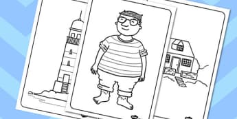 Colouring Sheets to Support Teaching on The Lighthouse Keeper's Lunch - The Lightkeeper's Lunch, Ronda Armitage, Mr Grinling, Mrs Grinling, seagulls, seaside, lunch, Hamish, resources, sandwhich, story, story book, story book resources, story sequenc