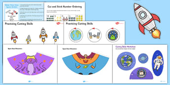 Space Themed Scissor Skills Pack - space, themed, scissor skills, pack, fine, motor, control