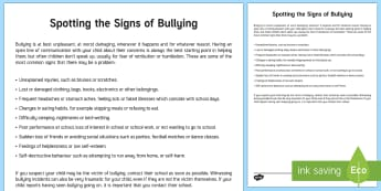 Spotting the Signs of Bullying Parent and Carer Information Sheet - wellbeing, health, fitness, parents, carers, bullying, support
