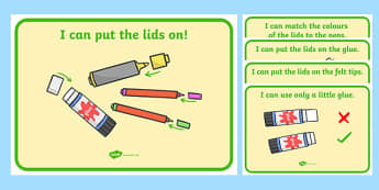 I Can Put the Lids On Display Posters - Lids on Pens, pens, writing area, mark making area, I can, display, poster, good behaviour, rules